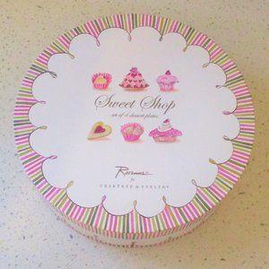 Crabtree & Evelyn Sweet Shop 4 Dessert Plates Set